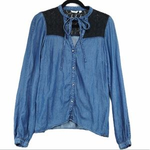 Guess denim and lace button down top